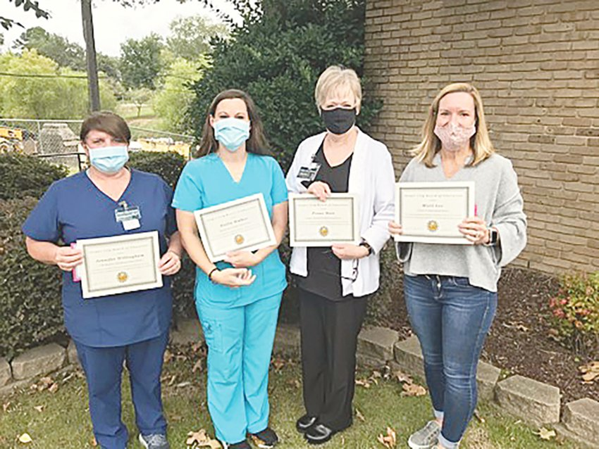 Pictured, from left to right, are Jasper City Board of Education nurses Jennifer Willingham, Holly Walker, Penne Mott and Misty Lee.