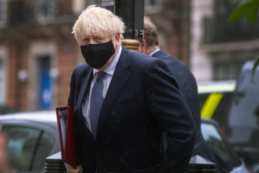 Prime Minister Boris Johnson arrives at BBC Broadcasting House in London to appear on the Andrew Marr show. PA Photo. Picture date: Sunday October 4, 2020. See PA story POLITICS Coronavirus. Photo credit should read: Victoria Jones/PA Wire
