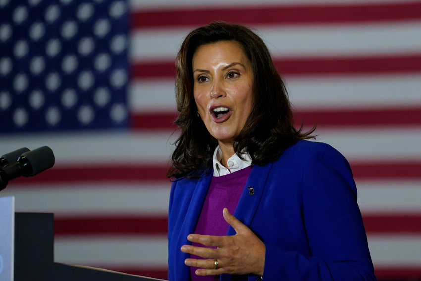 Michigan Governor Gretchen Whitmer speaks at Beech Woods Recreation Center, in Southfield, Mich., Friday, Oct. 16, 2020. (AP Photo/Carolyn Kaster)...
