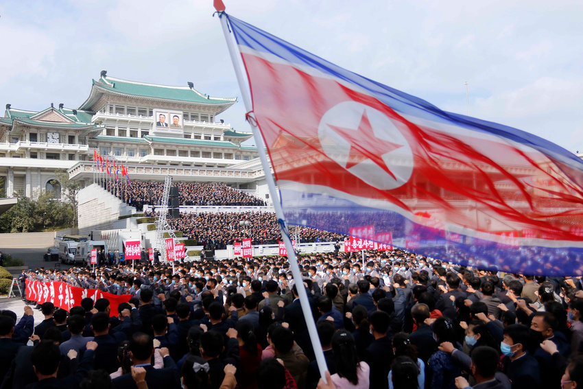 Thousands rally to welcome the 8th Congress of the Workers' Party of Korea at Kim Il Sung Square in Pyongyang, North Korea, Monday, Oct. 12, 2020. (AP Photo/Jon Chol Jin)