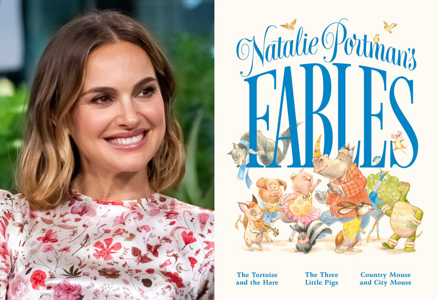 "Natalie Portman participates in the BUILD Speaker Series to discuss the film ""Lucy in the Sky"" in New York on Oct. 2, 2019, left, and the cover of ""Natalie Portman's Fables,"" a book of popular children's fables with a friendlier, more gender inclusive twist. (AP Photo, left, Feiwel & Friends via AP)"