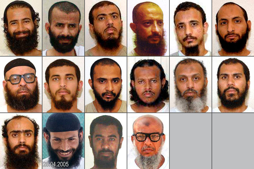 This combination of photos obtained by WikiLeaks shows 16 of the 18 Yemeni prisoners who were detained in Guantanamo Bay for more than a decade and were transferred years ago by the United States to the UAE with promises that they would be integrated into society. Instead, the UAE held the men in indefinite detention, according to families and lawyers. Most recently, UAE is allegedly forcing the men to return to Yemen, a country torn among rival factions, each running networks of secret prisons. (WikiLeaks via AP)