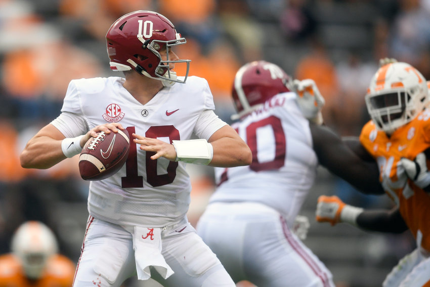 Alabama quarterback Mac Jones (10) looks to throw during Saturday's game against Tennessee at Neyland Stadium in Knoxville, Tenn., on Saturday.