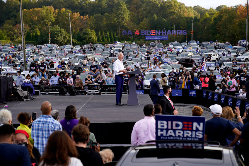 Democratic presidential candidate former Vice President Joe Biden speaks at a drive-in rally at Cellairis Amphitheatre in Lakewood, Ga., Tuesday, Oct. 27, 2020. (AP Photo/Andrew Harnik)