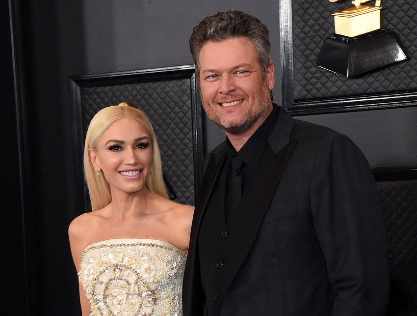 Gwen Stefani, left, and Blake Shelton arrive at the 62nd annual Grammy Awards at the Staples Center on Sunday, Jan. 26, 2020, in Los Angeles. (Photo by Jordan Strauss/Invision/AP)