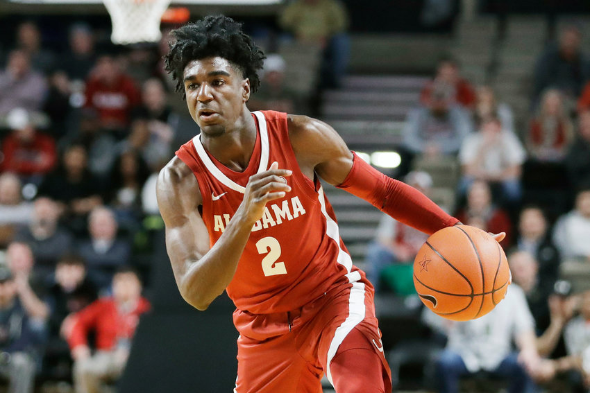 Alabama guard Kira Lewis Jr. plays against Vanderbilt in the first half of an NCAA college basketball game Wednesday, Jan. 22, 2020, in Nashville, Tenn. (AP Photo/Mark Humphrey)