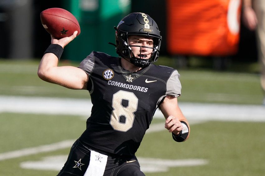 Vanderbilt quarterback Ken Seals (8) passes against the Florida in the second half of an NCAA college football game Saturday, Nov. 21, 2020, in Nashville, Tenn. (AP Photo/Mark Humphrey)