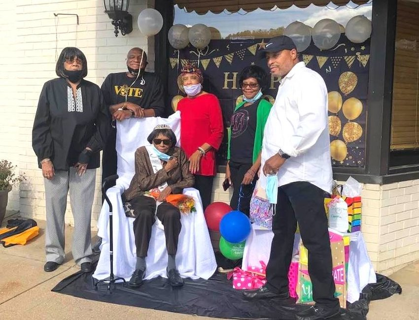 Allie Mae Kirk is pictured with her children, from left to right, Linda, Johnny, Ann, Dean and Jerome. A special birthday celebration was held for Allie Mae Kirk on Saturday.