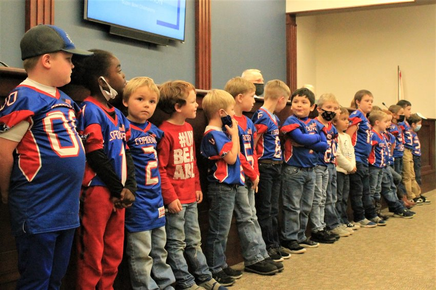 """Members of the Cordova Toy Bowl 5/6 Freshman team were recgonized at Tuesday night's council meeting for winning the 2020 Alabama Competitive Youth Football League Super Bowl. Mayor Jeremy Pate presented each player with a proclamation congratulating them on the """"hard work, dedication, sportsmanship, talent and exceptional team chemistry"""" that brought home a championship and honor to the city."""