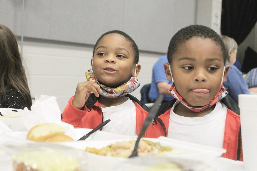Fewer families attended Operation Thanksgiving at Jasper Civic Center on Thursday, but those who did received a hot meal in a friendly environment. Tables were spaced appropriately for social distancing, and all volunteers wore masks or face shields to protect the health of all who gathered.