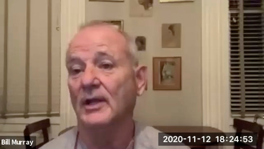 """In this November 12, 2020 image taken from video, actor Bill Murray takes part in a virtual production of """"Poetry for the Pandemic."""" Murray is set to play Job in a biblical reading designed to spark meaningful conversations across spiritual and political divides. (Theater of War Productions via AP)"""