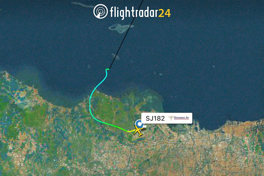 This racer image shows a flight path of Sriwijaya Air Flight 182. (Courtesy of Flightradar24.com via AP)