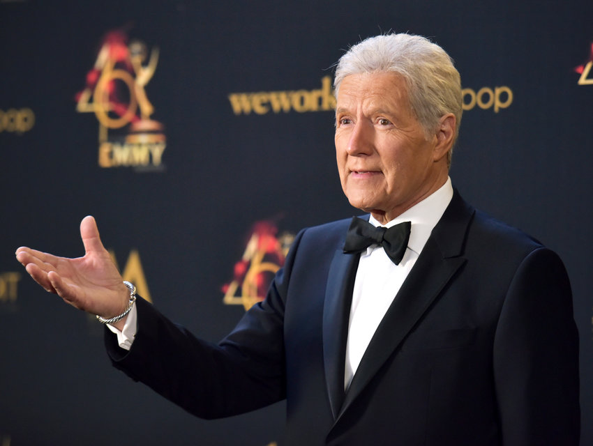 "FILE - Alex Trebek poses in the press room at the 46th annual Daytime Emmy Awards on May 5, 2019 in Pasadena, Calif. More than two months after Trebek's death, fans of ""Jeopardy!"" finally got the chance to say goodbye. A video tribute to the host opened the Friday, Jan. 8, 2021 episode of the quiz show, the final one that Trebek taped before pancreatic cancer claimed his life on Nov. 8. (Photo by Richard Shotwell/Invision/AP, File)"