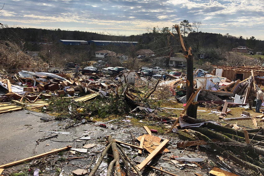 The remains of homes in Fultondale, Ala., on Tuesday, Jan. 26, 2021, after they were destroyed by a tornado.  (AP Photo/Jay Reeves).