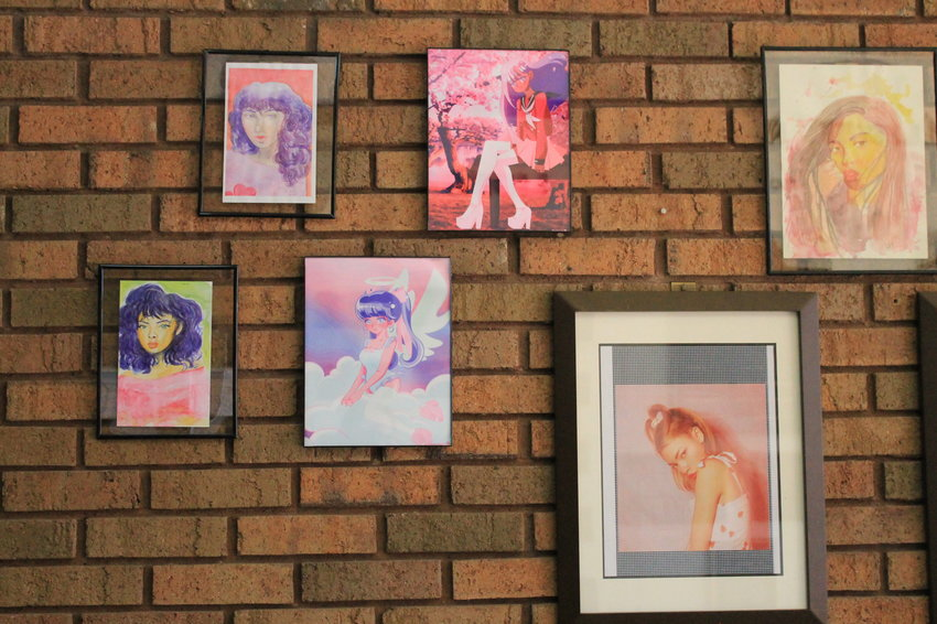 Art and jewelry by Cordova resident Alexandria Parker are part of Jasper Public Library's Black History Month display.  Her work reflects an affection for pop art, the beauty of the female form and Japanese animation.