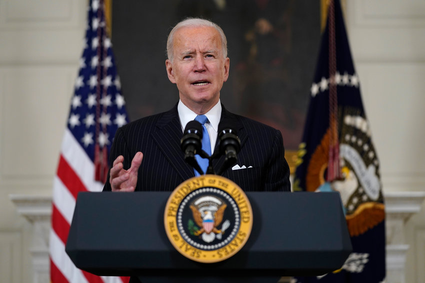 President Joe Biden speaks about efforts to combat COVID-19, in the State Dining Room of the White House, Tuesday, March 2, 2021, in Washington. (AP Photo/Evan Vucci) ..
