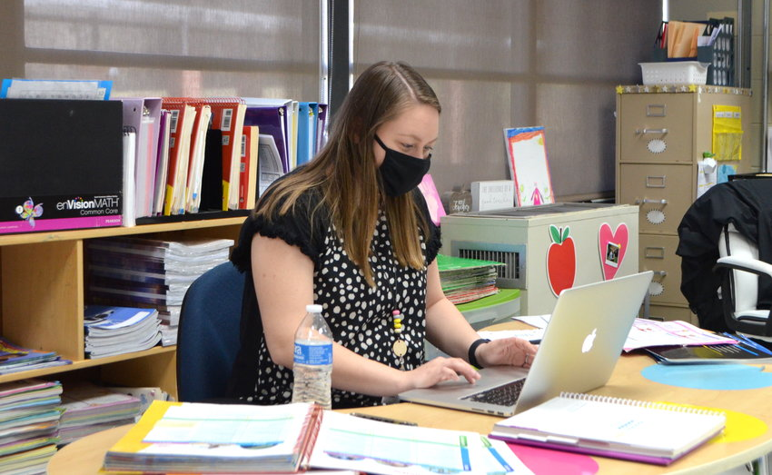 T.R. Simmons Elementary first-grade teacher Josie Tuggle does a virtual lesson with her students on Wednesday. Access to high-speed Internet has been crucial for educators and students during the pandemic.