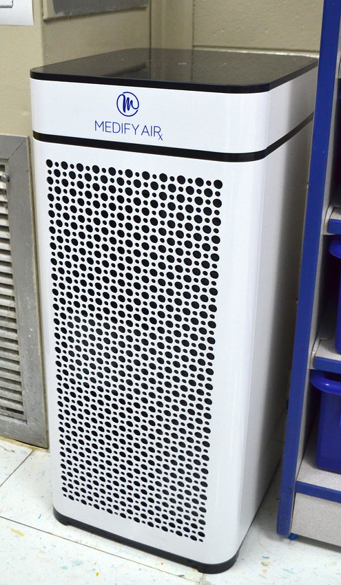 The Jasper City Board of Education purchased air purifiers last year to help eradicate COVID-19 in schools. Pictured is one of the air purifiers at T.R. Simmons Elementary School. A total of 200 air purifiers were placed in classrooms throughout the school system.
