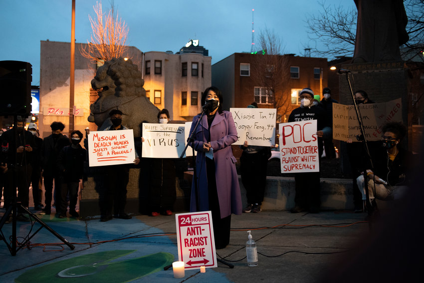 Councilmember Helen Gym address community members during a vigil to mourn and confront the rising violence against Asian Americans Wednesday, March 17, 2021 at the 10th Street Plaza in Philadelphia, Pa. The vigil was held following a mass shooting in Atlanta that killed eight people, six of them women of Asian decent.