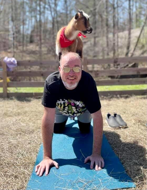 DME Publisher James Phillips does yoga with his new friend, Daisy the goat, at Goat Yoga Bham.
