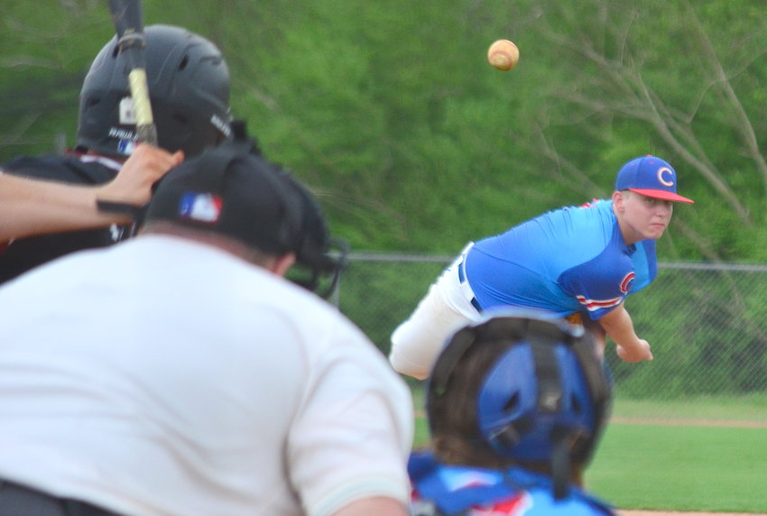 Cordova's Andrew Hunt throws a pitch against Sumiton Christian during the seventh inning of their game on Saturday.