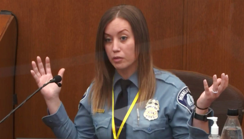 In this image from video, witness Minneapolis Police Officer Nicole Mackenzie testifies as Hennepin County Judge PeterCahill presides Tuesday, April 6, 2021, in the trial of former Minneapolis police Officer Derek Chauvin at the Hennepin County Courthouse in Minneapolis. Chauvin is charged in the May 25, 2020 death of George Floyd. (Court TV via AP, Pool)