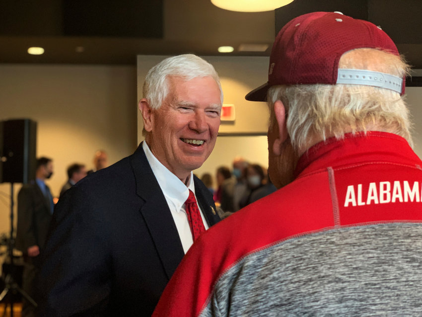 U.S. Rep. Mo Brooks greets supporters as he announces his campaign for US Senate during a rally in March 22, 2021 in Huntsville, Alabama.