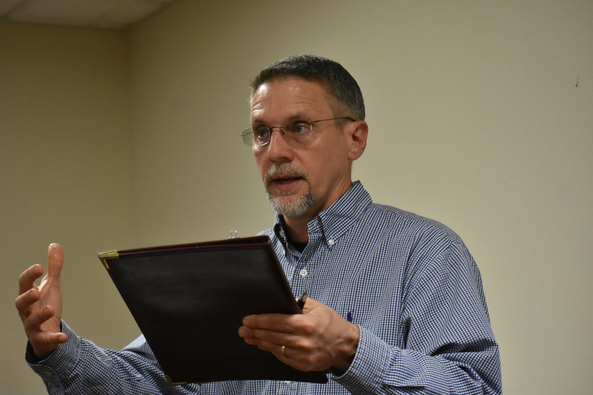 Kevin Kessler of Community Consultants in Huntsville spoke to the Dora City Council Thursday, April 8, about potential grants the city can soon apply for.