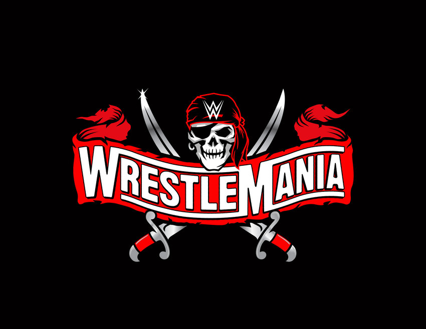 The logo for the 2021 edition of WWE WrestleMania. The two-night event kicks off on Saturday, April 10 from Raymond-James Stadium in Tampa, FL.