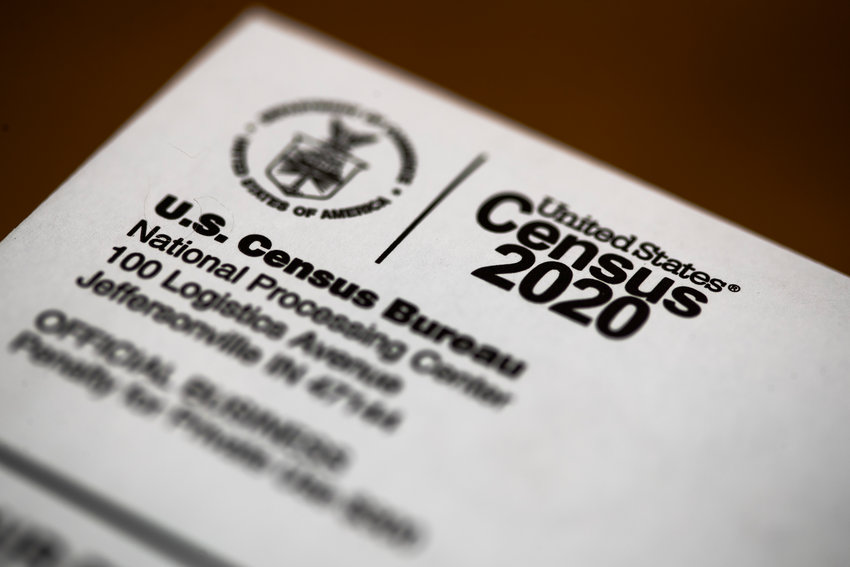 FILE - This March 19, 2020, file photo, shows an envelope containing a 2020 census letter mailed to a U.S. resident. (AP Photo/Matt Rourke, File)