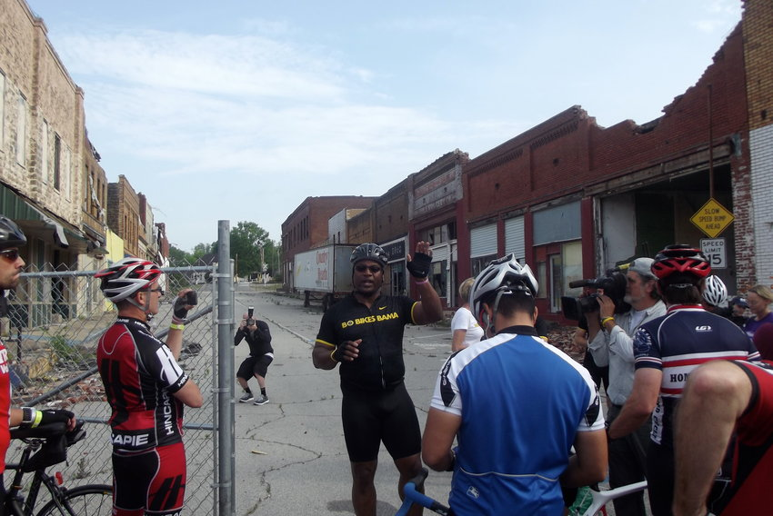 Bo Jackson speaks in downtown Cordova during the first Bo Bikes Bama ride in 2012.