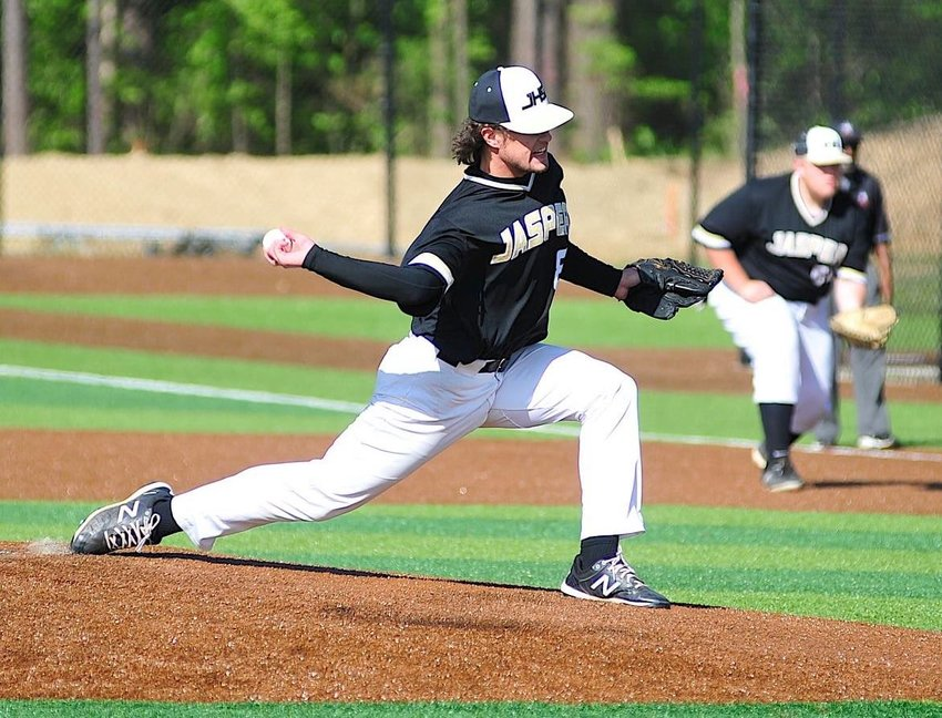 Jasper's Parker Sawyer throws a pitch against Mortimer Jordan during their opening playoff game on Thursday. Sawyer got the win in a 3-0 victory.