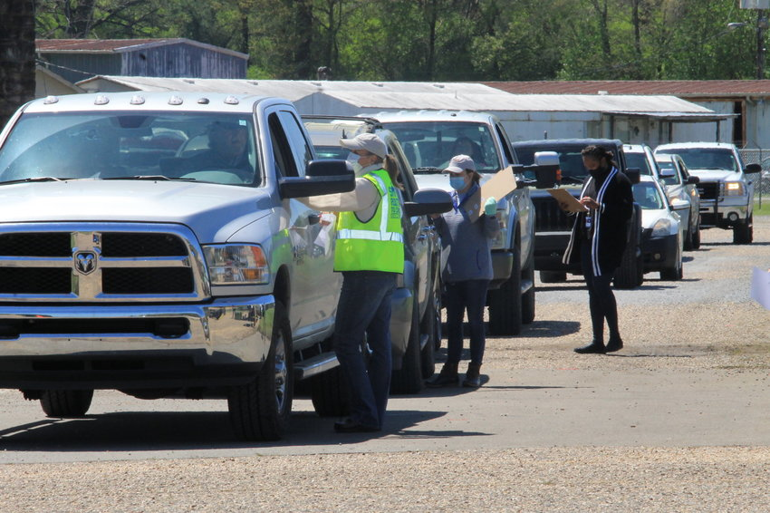 This drive-through vaccine clinic was recently held at the old airport in Jasper.
