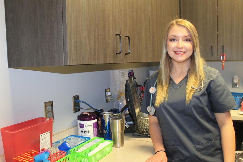 Mia Daniels, a senior at Curry High School, is pictured in the lab at Walker Women's Specialists, where she completed part of her clinical training this semester.