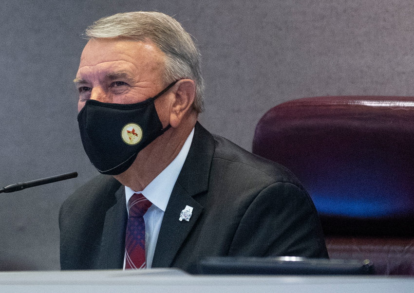 Speaker of the House Mac McCutcheon looks on during debate during the last day of the regular session at the Alabama Statehouse in Montgomery, Ala., on Monday May 17, 2021. (AP Photo / Montgomery Advertiser, Mickey Welsh)