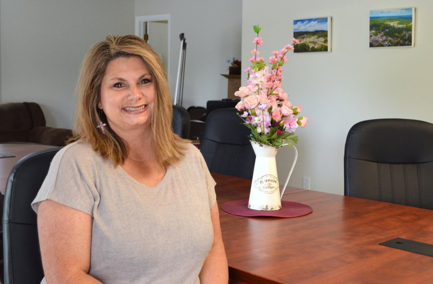 Amanda Lay is pictured inside Oakman Town Hall. She has been serving as the town's new clerk since February.