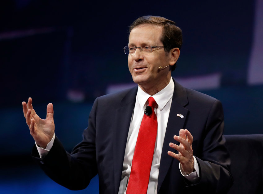 Israeli Opposition Leader and Zionist Union Chairman Isaac Herzog, left, speaks at the AIPAC Policy Conference 2017 in Washington, Monday, March 27, 2017.   (AP Photo/Manuel Balce Ceneta)