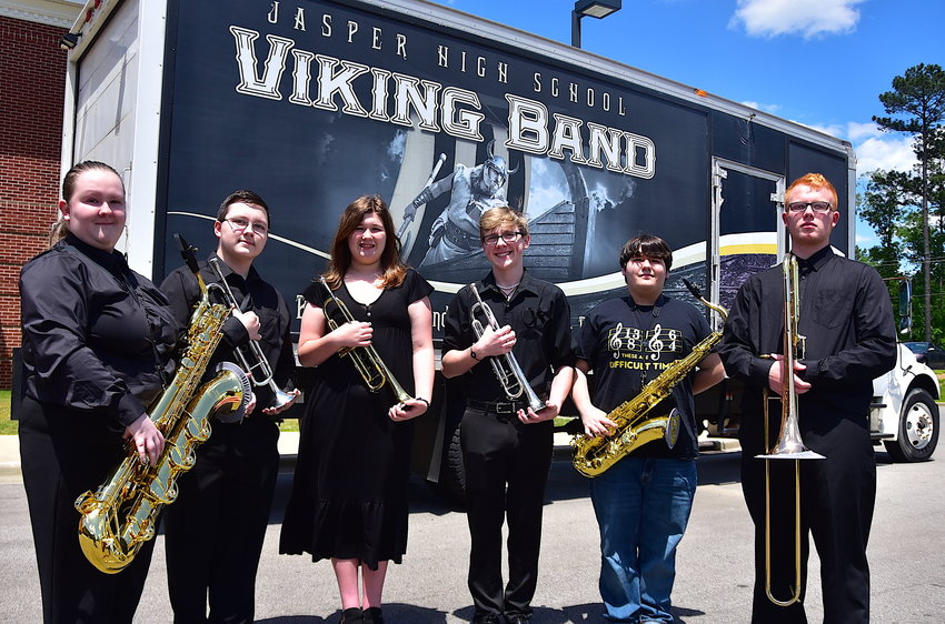 Jasper High band members Kerri Painter, Jackson Painter, Alexis Vines, Blake Barnes, A.J. Kell and Caleb Freeman were recently selected to be members of the 2022 Bands of America Honor Band that will march in the 2022 Tournament of Roses Parade on New Year's Day in Pasadena, Calif.