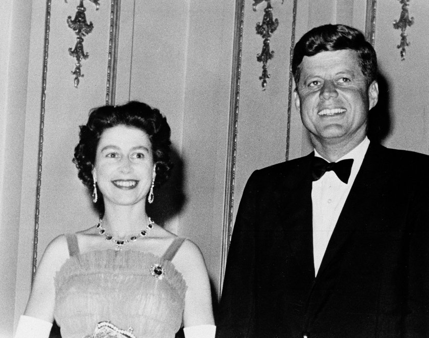 FILE - This is a June 5, 1961 file photo of Queen Elizabeth II and U.S. President John Kennedy as they pose at Buckingham Palace in London. The Kennedy,s were dinner guests of the Queen. (AP Photo, File)
