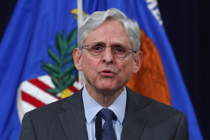 U.S. Attorney General Merrick Garland delivers remarks on voting rights at the U.S. Department of Justice in Washington, on Friday, June 11, 2021. (Tom Brenner/The New York Times)