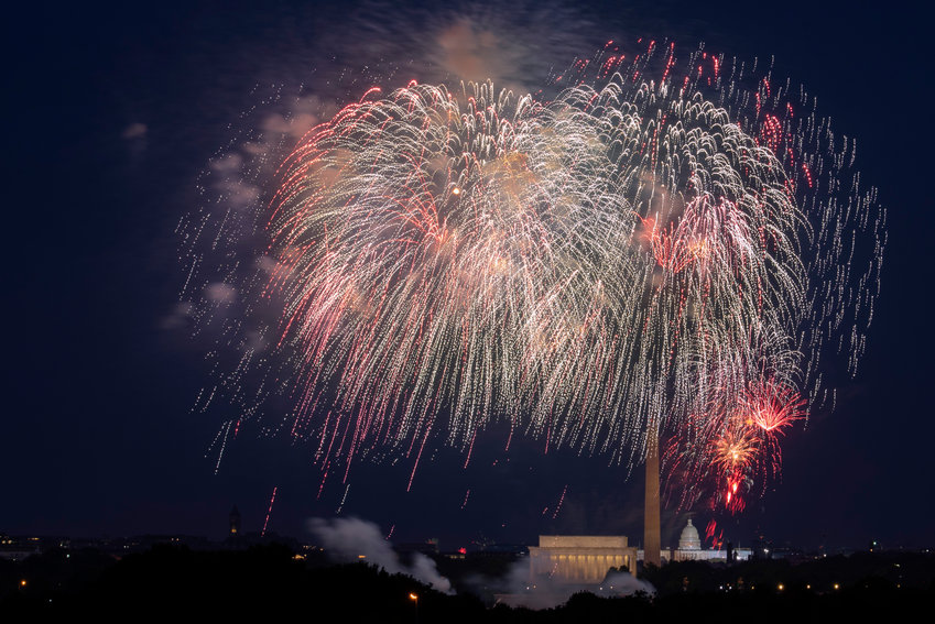 Fourth of July fireworks explode over the Lincoln Memorial, Washington Monument and U.S. Capitol, along the National Mall in Washington, Saturday, July 4, 2020. (AP Photo/Cliff Owen)