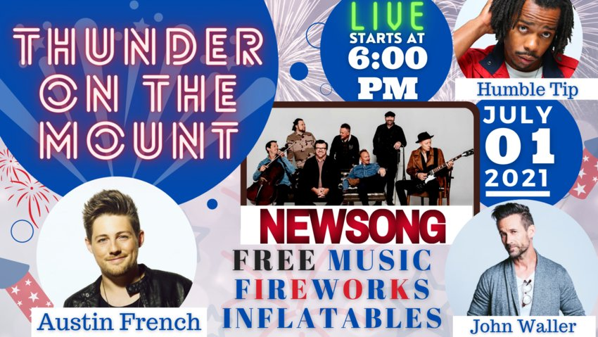 Mt. Vernon Baptist Church in Curry will host NewSong and other contemporary Christian artists in a free, live 3.5-hour outdoor concert on July 1, starting at 6 p.m. and ending with a 15-minute professional fireworks show.