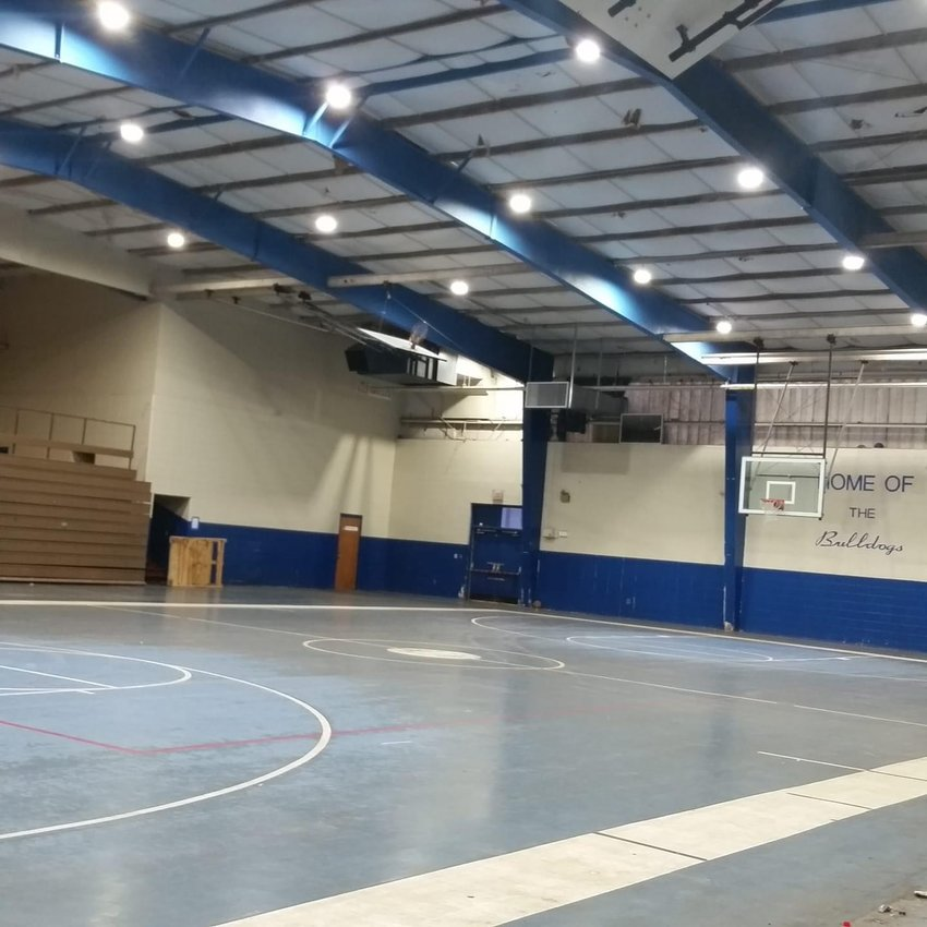 New LED lights now light up the playing area of the Blue Gym in Carbon Hill.