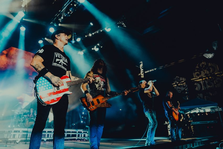 """3 Doors Down, consisting of Brad Arnold, Chris Henderson, Greg Upchurch, Chet Roberts and Justin Biltonen, perform at Oak Mountain Amphitheater on Saturday, July 25, 2021 in the venue's first show since 2019. The band performed their album """"The Better Life"""" in its entirety to celebrate the release's 20th anniversary."""