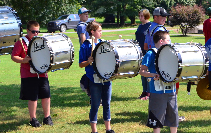 High school band students in Walker County have been participating in summer band camp in recent weeks to hone their skills for the 2021-22 school year. Oakman High School band students are pictured during practice on Thursday.