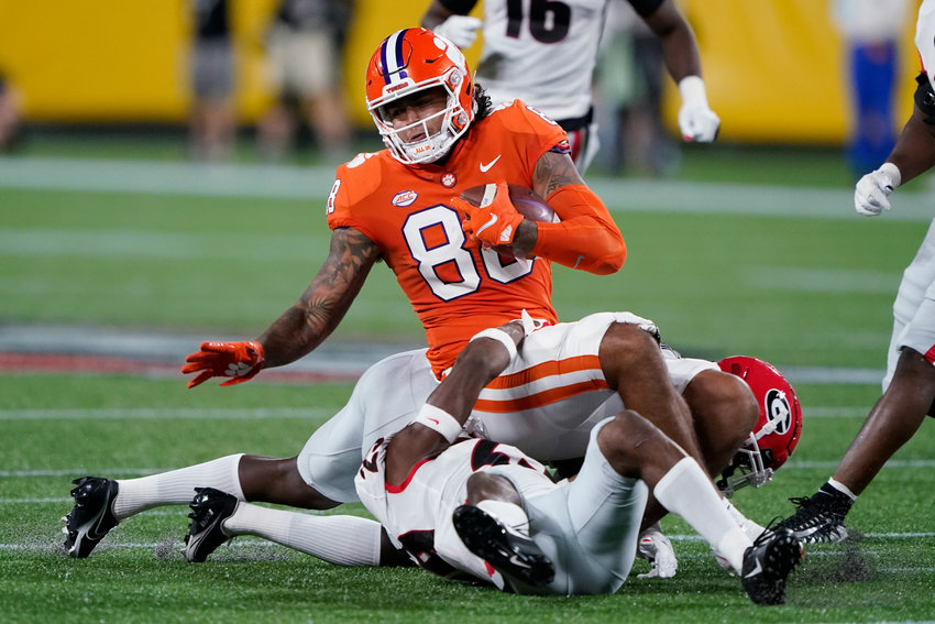 Clemson tight end Braden Galloway runs against Georgia during the second half of the Duke's Mayo Classic NCAA college football game at Bank of America Stadium Saturday, Sept. 4, 2021, in Charlotte, N.C. (AP Photo/Chris Carlson)