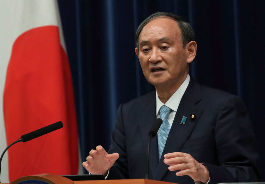 Japanese Prime Minister Yoshihide Suga speaks at a news conference at his office in Tokyo, Japan, September 9, 2021.   REUTERS/Kim Kyung-Hoon/Pool