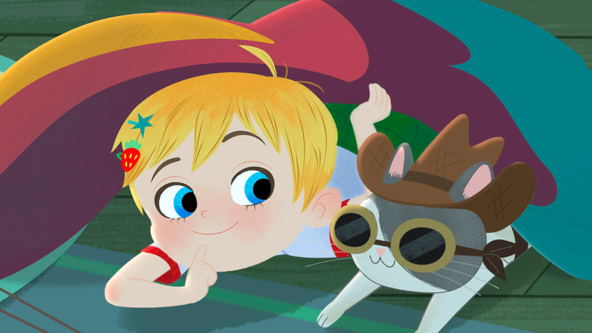 """This image released by Warner Bros. Animation shows characters Little Ellen, left, and Charlie in a scene from the animated series """"Little Ellen,"""" part of Cartoonito, a new preschool block launching on HBO Max and Cartoon Network. (Warner Bros. Animation via AP)"""