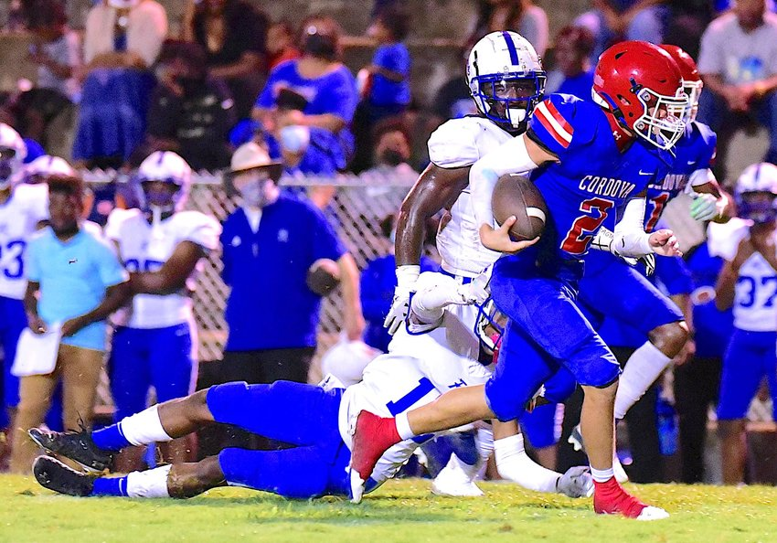 Cordova receiver Miguel Lopez (2) finds running room during Thursday's game against Ramsay.