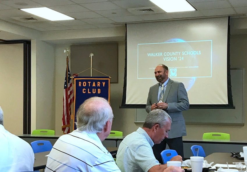 Walker County Schools Superintendent Dr. Dennis Willingham speaks to members of the Rotary Club of Jasper on Tuesday.